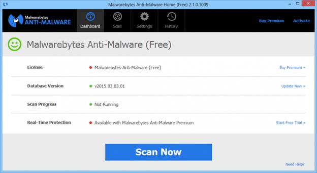 Malwarebytes Anti-Malware – антивирус, работающий на основе современных технологий.