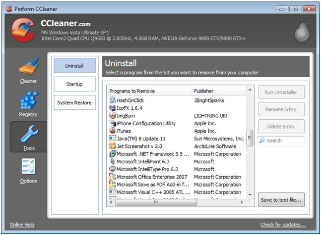 К числу наиболее распространенных можно отнести CCleaner – функциональное средство для управления системным реестром и установленным софтом, которое оценит как новичок, так и опытный пользователь