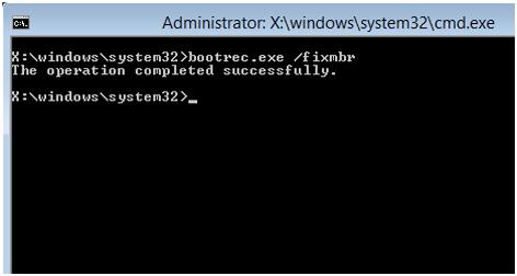 Всегда перед началом восстановления Мастер Бут Рекорд обязательно должна выполняться командная строка windows – bootrec.exe/fixmbr
