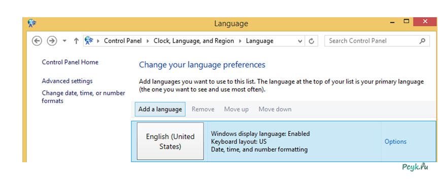 рис.4. В разделе языковых параметров кликаем«Add a language»