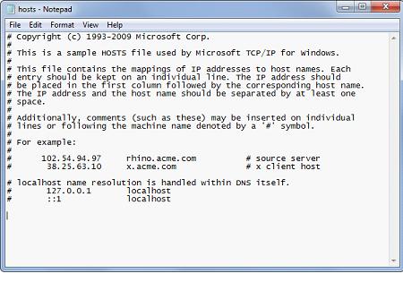 Содержание hosts в Windows 7, 8 и 8.1