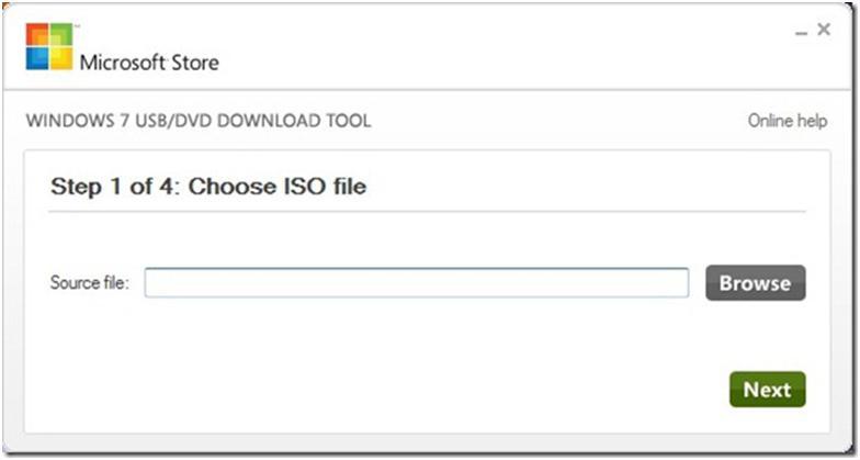 Выбираем файл с образом Windows 7 для ноутбука, используя кнопку Browse