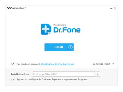 Окно программы Dr. Fone