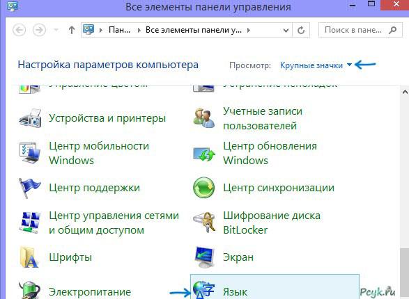 Выбор раздела с указанием языка