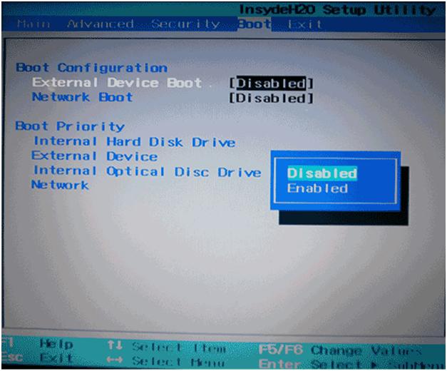 Активируем пункт «External Device Boot», выбрав«Enabled» с выпадающего меню параметров, если биос не видит загрузочную флешку