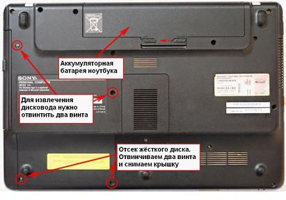 Затем отворачиваем четыре винта: это привод и дисковод